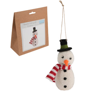 Needle Felting Snowman Kit, Make Your Own Snowman, TCK008 - Fabric and Ribbon