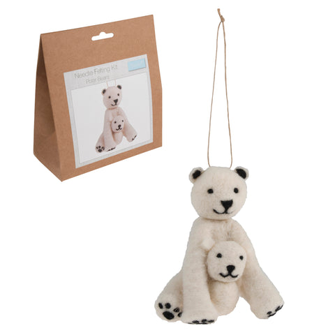 Needle Felting Polar Bears Kit, Make Your Own Polar Bears, TCK005 - Fabric and Ribbon