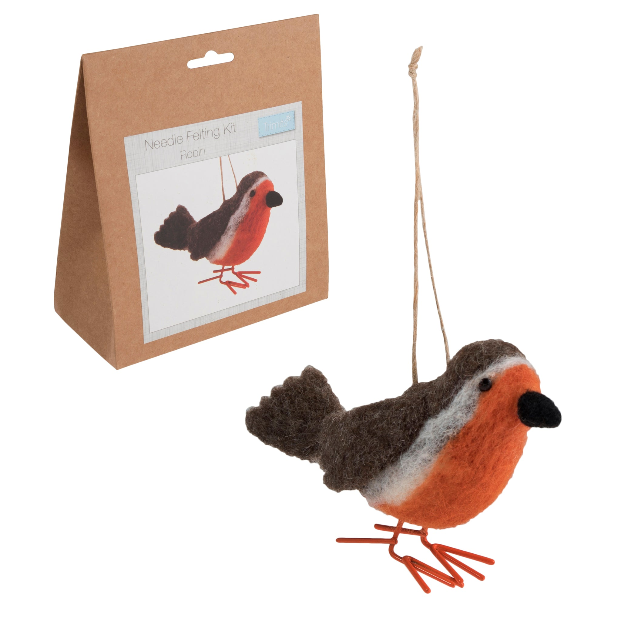Needle Felting Robin Kit, Make Your Own Robin, TCK012 - Fabric and Ribbon