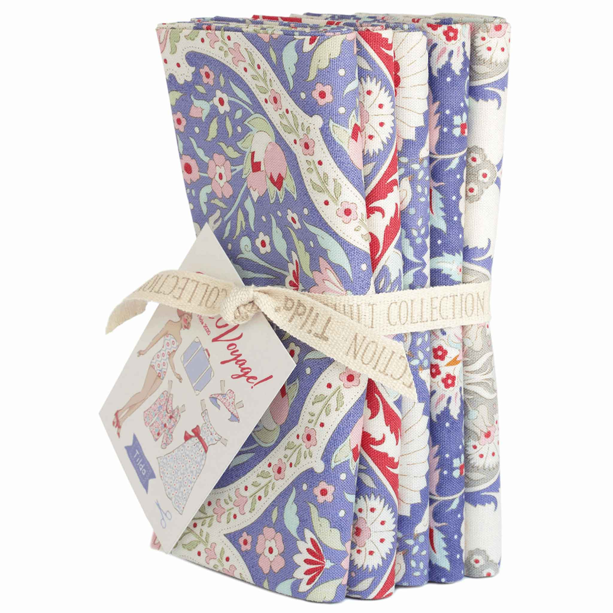 Tilda Blue Bon Voyage Fat Quarter Bundle, Tilda 300072, 5 Cotton Fat Quarters, 50 cm x 55 cm - Fabric and Ribbon