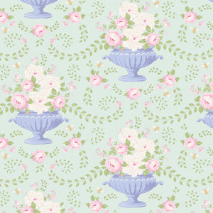 Tilda Flowerbees Teal Cotton Fabric, Happy Campers Collection, Tilda 100236