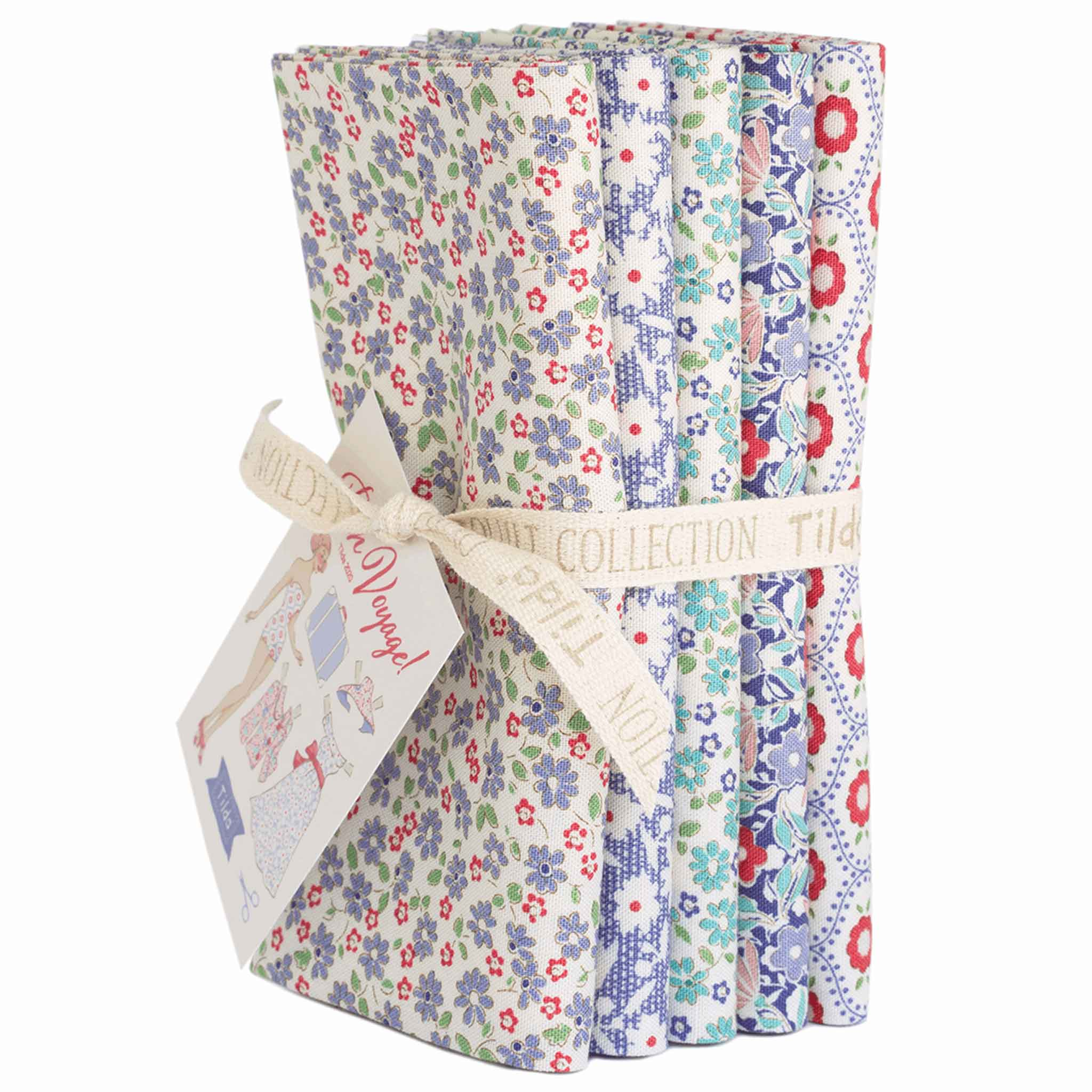 Tilda Small Blue Bon Voyage Fat Quarter Bundle, Tilda 300073, 5 Cotton Fat Quarters, 50 cm x 55 cm