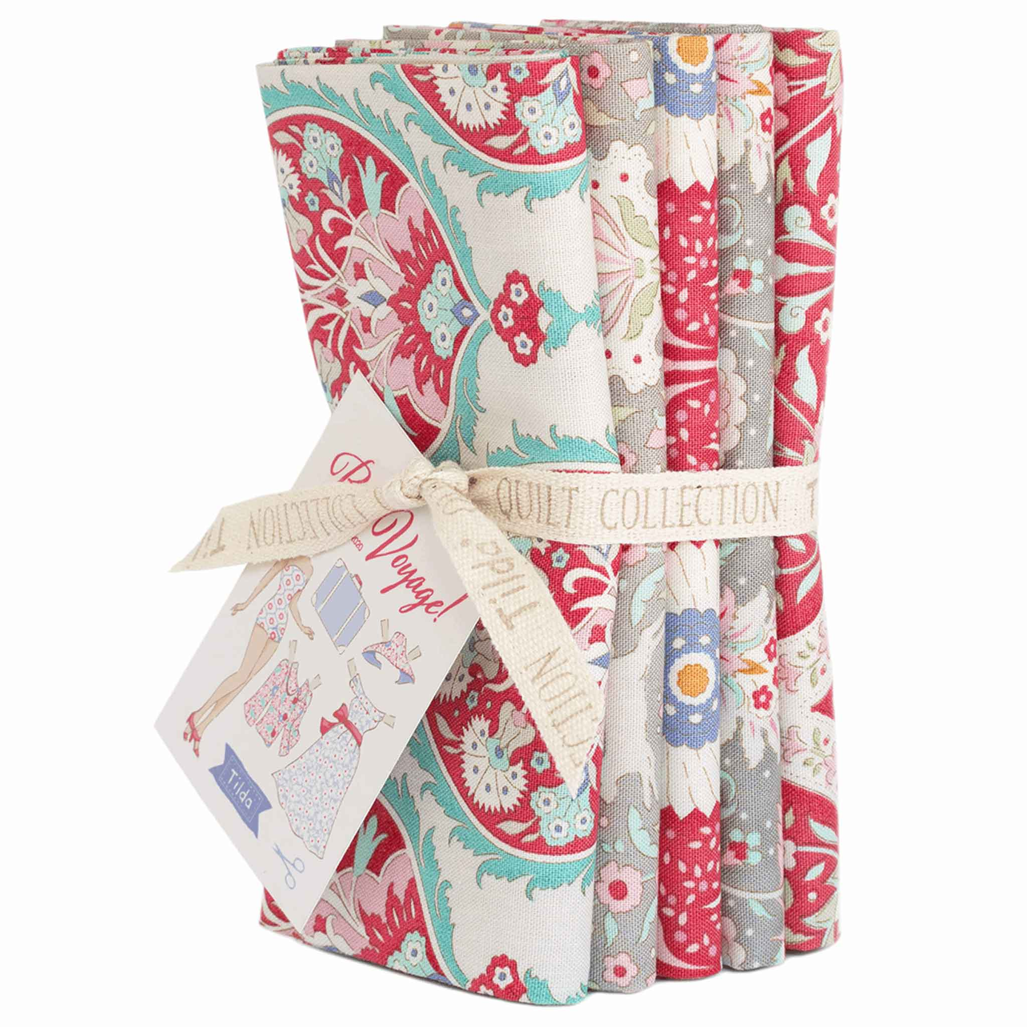 Tilda Red Bon Voyage Fat Quarter Bundle, Tilda 300074, 5 Cotton Fat Quarters, 50 cm x 55 cm