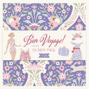Tilda Bon Voyage Charm Pack, Tilda 5 inch Patchwork Bundle 300077, 40 Pieces of Fabric, 12.5 cm x 12.5 cm - Fabric and Ribbon