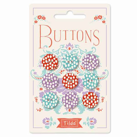 Tilda 15 mm Buttons, Lazy Days Collection, 400020 Pack of 9 Tilda Fabric Covered Buttons