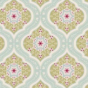 Tilda Aurora Teal Cotton Fabric, 480805 Apple Bloom Collection