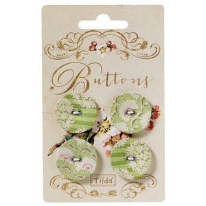 Tilda 25 mm Buttons, Apple Bloom Collection, 480870,  Pack of 4 Tilda Fabric Covered Buttons for Sewing and Crafts