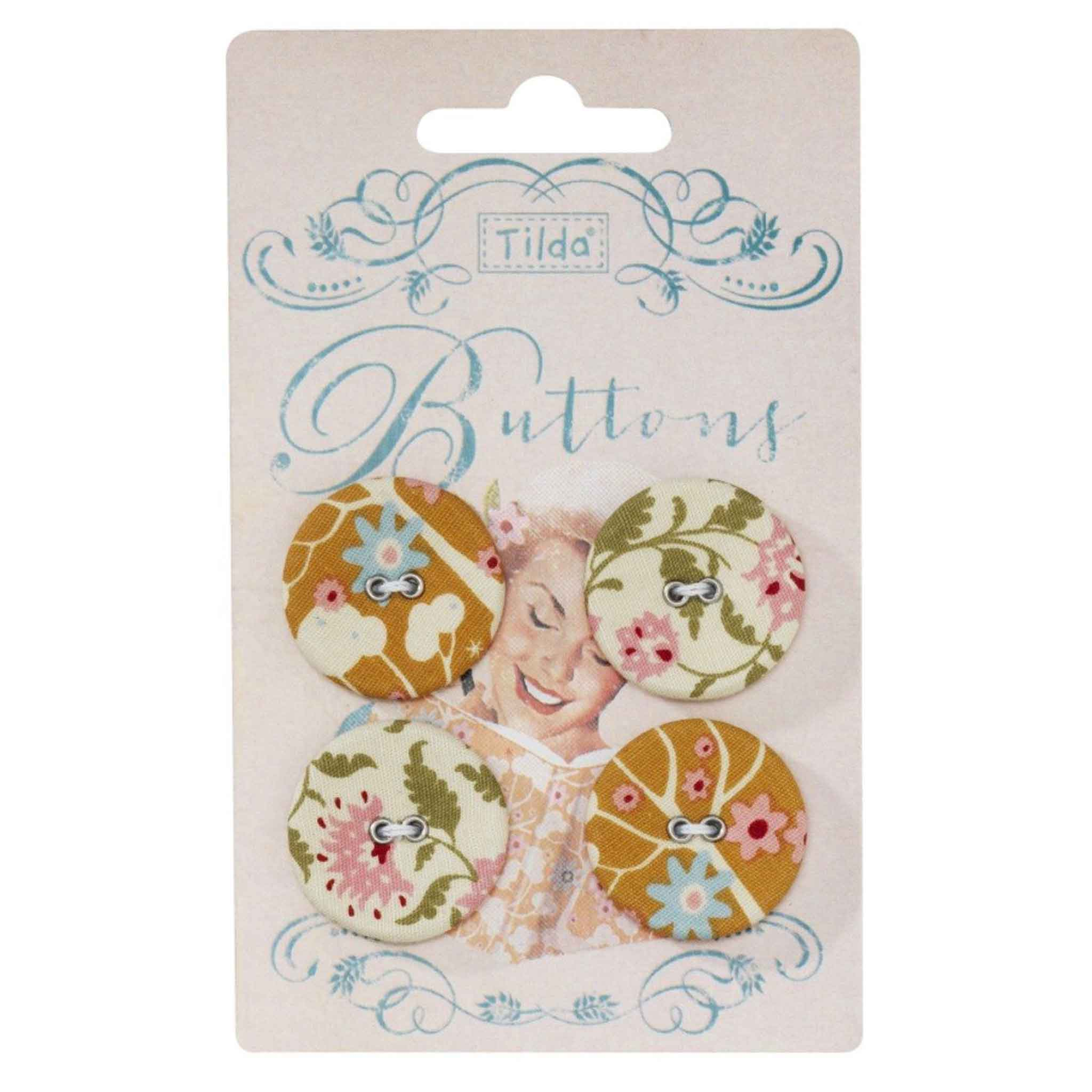 Tilda 25 mm Buttons, Spring Diaries Collection, 481092,  Pack of 4 Tilda Fabric Covered Buttons - Fabric and Ribbon