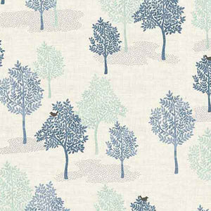 Blue Trees Cotton Fabric by Makower 2062/B, Woodland Collection - Fabric and Ribbon