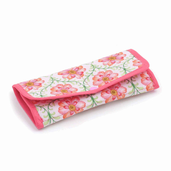 Pink Flower Sewing Kit, Blossoming Trellis Sewing Roll, Travel Sewing Kit, Fabric Home Sewing Kit