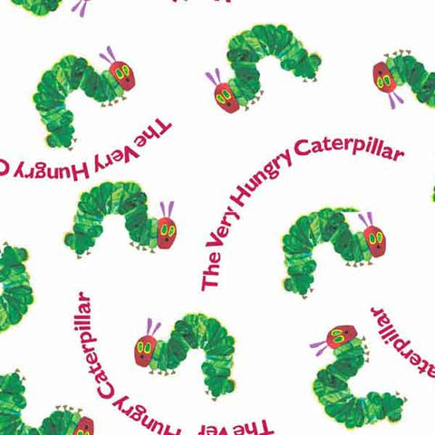 The Very Hungry Caterpillar with Red Writing Cotton Fabric by Andover Fabrics