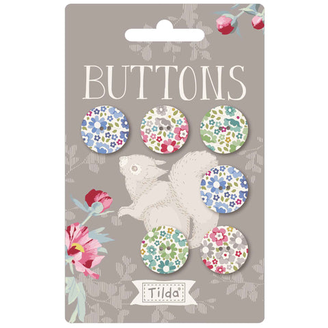 Tilda 18mm Buttons - Woodland Collection -TD400038 - Pack of 6 Fabric Covered Buttons