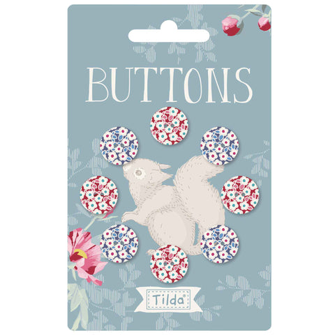 Tilda 14mm Buttons - Woodland Collection -TD400039 - Pack of 8 Fabric Covered Buttons