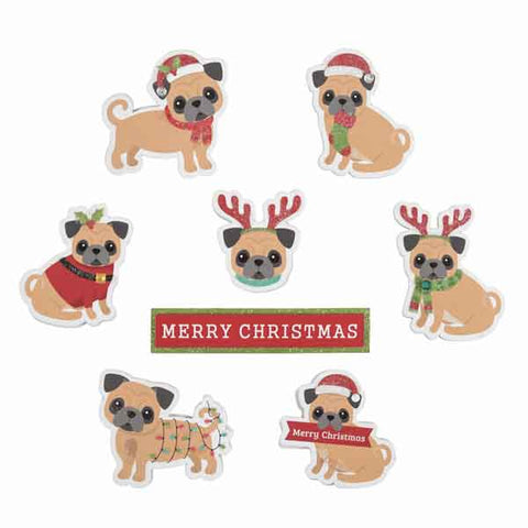 Christmas Pugs Stick On Card Making Pack, Kid's Xmas Pugs Card and Scrapbooking Pack - Fabric and Ribbon