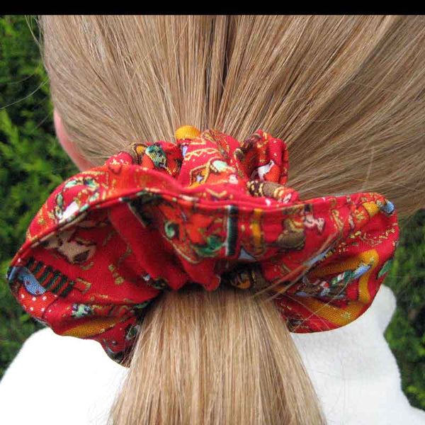 Christmas Red Headband and Scrunchie Gift Set, Kids Xmas Red Squares Hair Accessories - Fabric and Ribbon