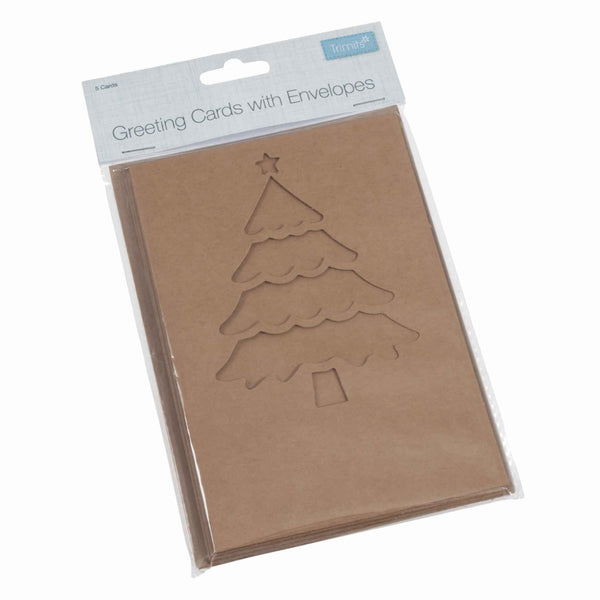 Craft Cards With Envelopes, Christmas Tree Design, 5 Cards
