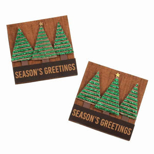 Season's Greetings Christmas Tree Stick On Card Making Pack, Pack of 2 Green Xmas Tree Craft Kit - Fabric and Ribbon