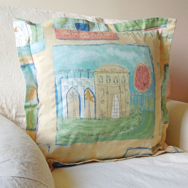 Pastel Abbey Cushion, Handmade in a Pure Cotton Retro Style Print with Satin Stitch embroidery, 21 inch x 21 inch, 53 cm x 53 cm
