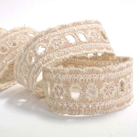 26 mm Broderie Anglaise Lace Linen Ribbon, 1 inch Linen and Cotton Lace Wedding Tape - Fabric and Ribbon