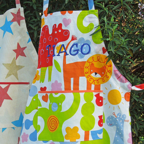 Child's Cotton Nursery Animal Apron, Child's Handmade Personalised  Apron with Pocket, Ages 2 - 6 yrs