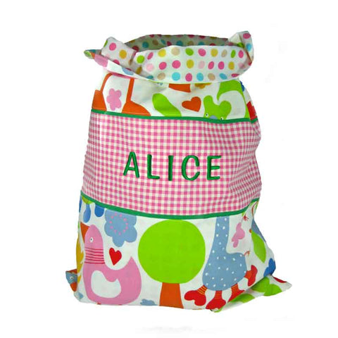 Child's Pink Nursery Animal Personalised Toy Sack, Reversible Jungle Animal Drawstring Bag