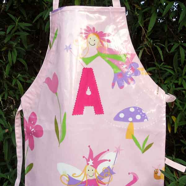 Child's Pink Fairy Oilcloth Apron, Monogram, Handmade Wipe Clean Apron, Ages 2 - 6 yrs - Fabric and Ribbon