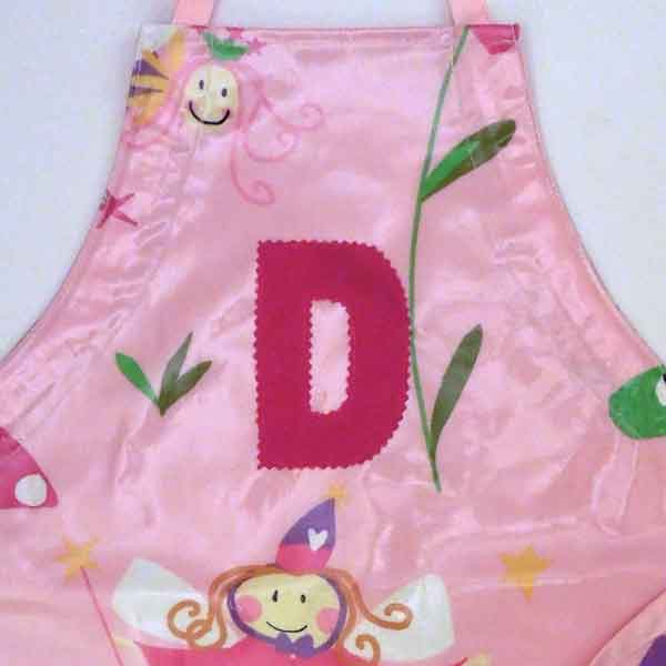 Child's Pink Fairy Oilcloth Apron, Monogram, Handmade Wipe Clean Apron, Ages 2 - 6 yrs