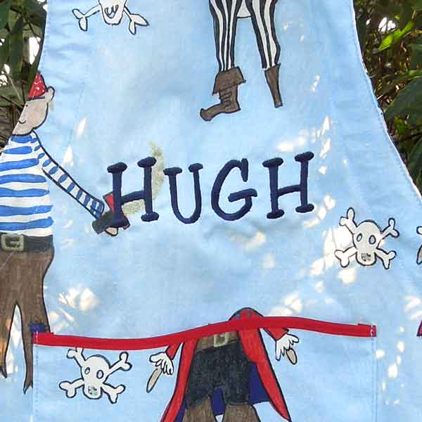 Toddler's Personalised Blue Pirate Apron, Boy's Pirate Apron with Pocket, Handmade in Pure Cotton, Ages 2 - 6 yrs
