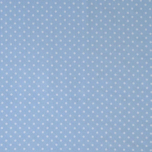 Pastel Blue and White Small Polka Dot Cotton Fabric - Fabric and Ribbon