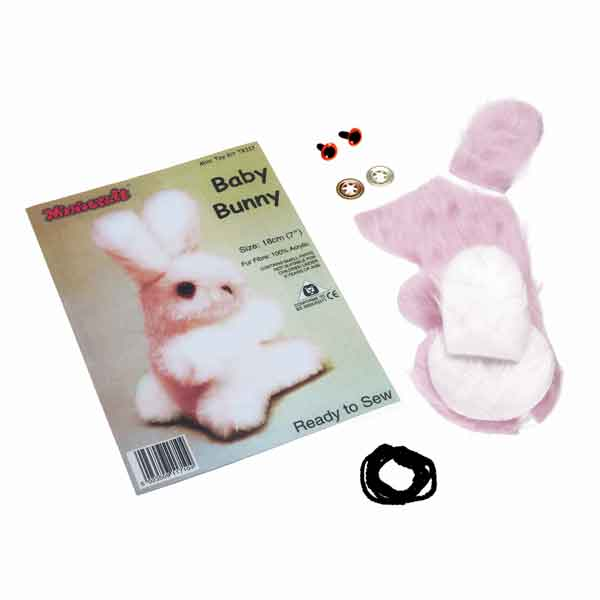 Pink Bunny Ready To Sew Mini Toy Kit, Kid's Make Your Own Baby Bunny Kit - Fabric and Ribbon