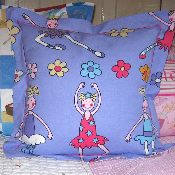Girl's Purple Ballet Dancers Cushion, Children's Pillow Handmade in a Purple Ballerina Cotton, 21 inch x 21 inch, 53 cm x 53 cm - Fabric and Ribbon