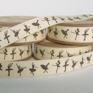 15 mm Ballerina Cotton Ribbon, 5/8 inch Girl's Ballet Patterned Cotton Tape