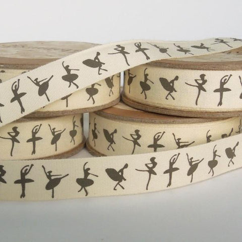15 mm Ballerina Cotton Ribbon, 5/8 inch Ballet Patterned Cotton Tape