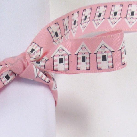 15 mm Pink Beach Hut Ribbon by Berisfords, 5/8 inch Seaside Ribbon, part of the Beach Life collection