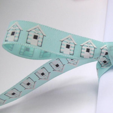 15mm Blue Beach Hut Ribbon, 5/8 inch Seaside Beach Hut Ribbon, the Beach Life collection