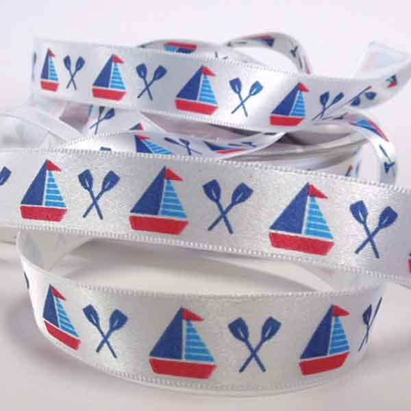 15 mm Sail Boat Ribbon by Berisfords, 5/8 inch Red and Blue Nautical Ribbon, part of Berisfords Nautical Collection - Fabric and Ribbon