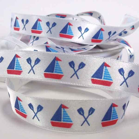 15 mm Sail Boat Ribbon by Berisfords, 5/8 inch Red and Blue Nautical Ribbon, part of Berisfords Nautical Collection