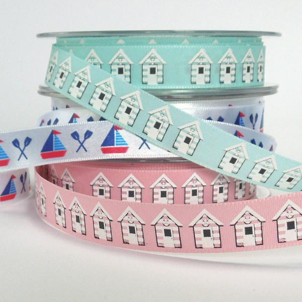 15 mm Blue Beach Hut Ribbon by Berisfords, 5/8 inch Seaside Ribbon, part of the Beach Life collection