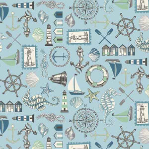 Blue Seaside Icons Cotton Fabric by Makower 1989/1, Beachcomber Collection - Fabric and Ribbon