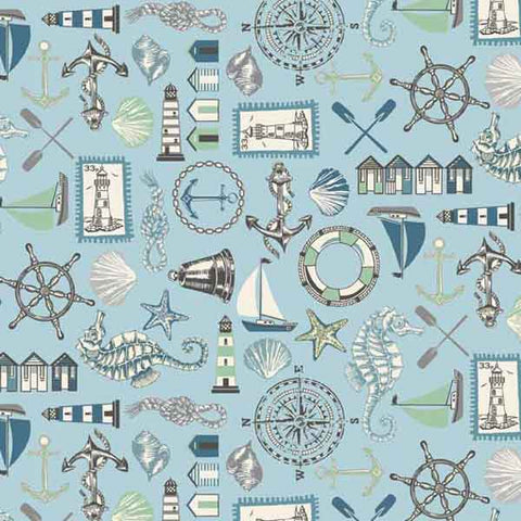 Blue Seaside Icons Cotton Fabric by Makower 1989/1 from their Beachcomber Collection
