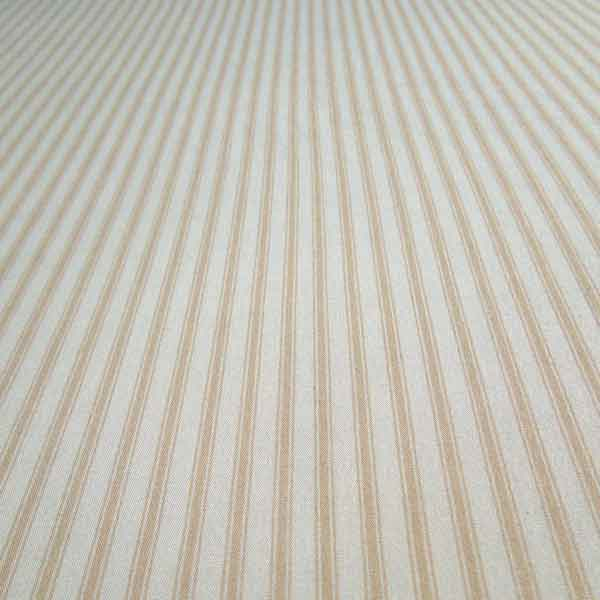 Beige Ticking Stripe Cotton Fabric by Rose & Hubble - Fabric and Ribbon