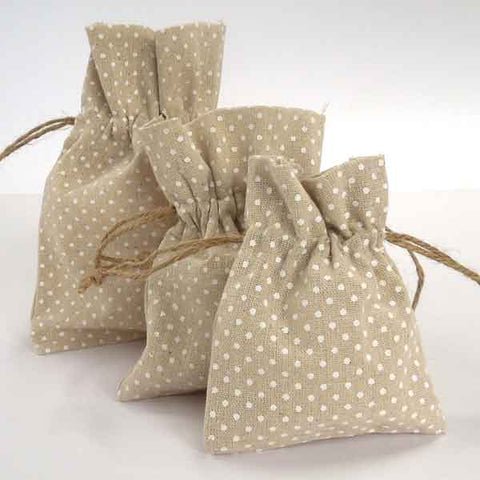 White Polka Dot Linen Gift Bags, Set of 3 Natural Linen Drawstring Gift Bags