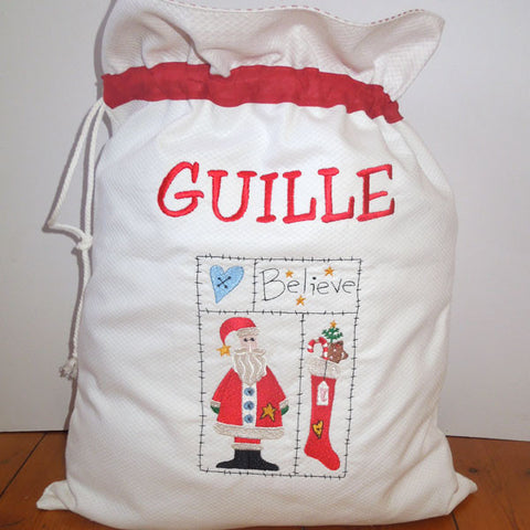 Personalised Father Christmas Toy Sack, Kid's Personalised White Santa Drawstring Bag - Fabric and Ribbon