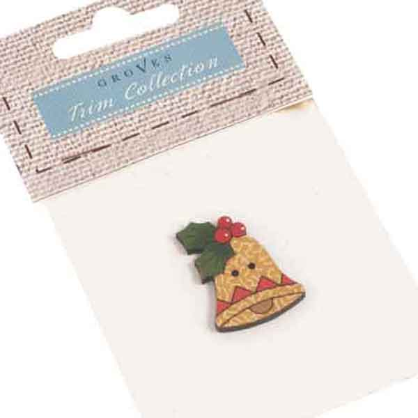 33 mm Christmas Festive Bell Wooden Button, Xmas Large Bell and Holly Fabric Covered Wooden Button - Fabric and Ribbon