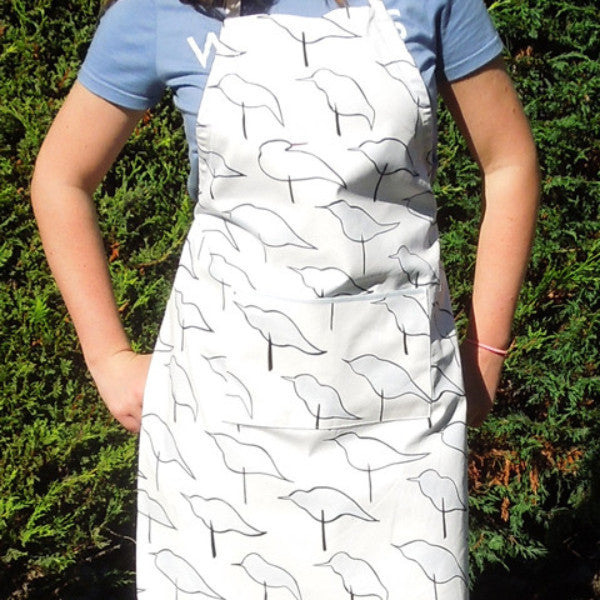 Personalised Ladies Blue Birds Cotton Apron, Adult's Blue and White Bird Apron with Pocket