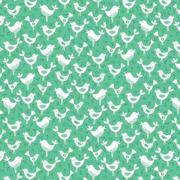 Birds Green Cotton Fabric by Makower 1820/G, Fantasy Collection - Fabric and Ribbon