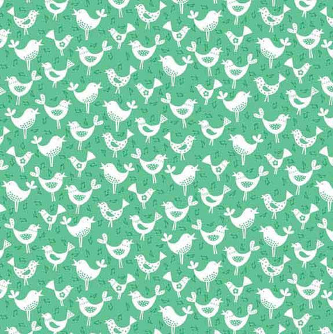 White Birds on Teal Cotton Fabric by Makower from their Fantasy Collection, Green Cotton Fabric