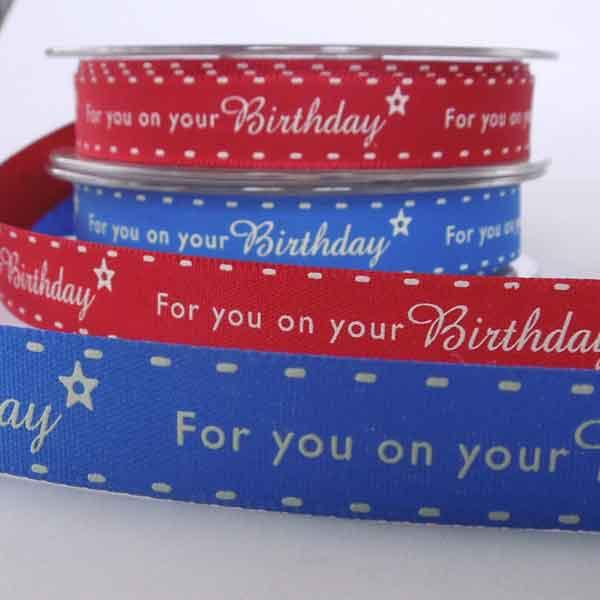 15 mm Red Birthday Ribbon, 5/8 inch Red and White For you on your Birthday Ribbon - Fabric and Ribbon