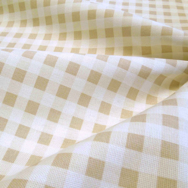 Biscuit Gingham Furnishing Fabric by Clarke and Clarke, Summer Breeze and Vintage Classics Collections - Fabric and Ribbon