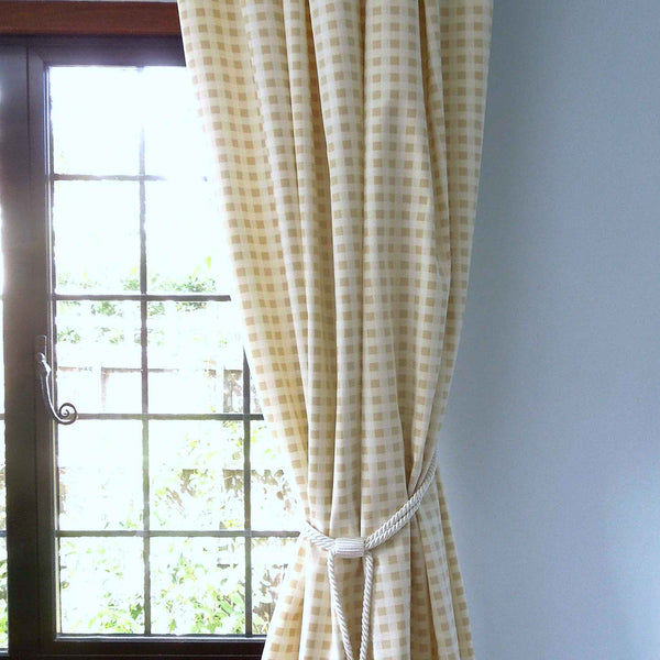 Biscuit Gingham Furnishing Fabric by Clarke and Clarke, Summer Breeze and Vintage Classics Collections